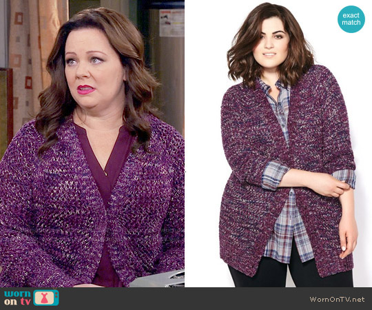 Melissa McCarthy Seven7 Long Sleeve Knit Cardigan worn by Melissa McCarthy on Mike & Molly