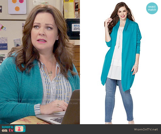 Melissa McCarthy Seven7 Slub Knit Cocoon Cardigan worn by Molly Flynn on Mike & Molly