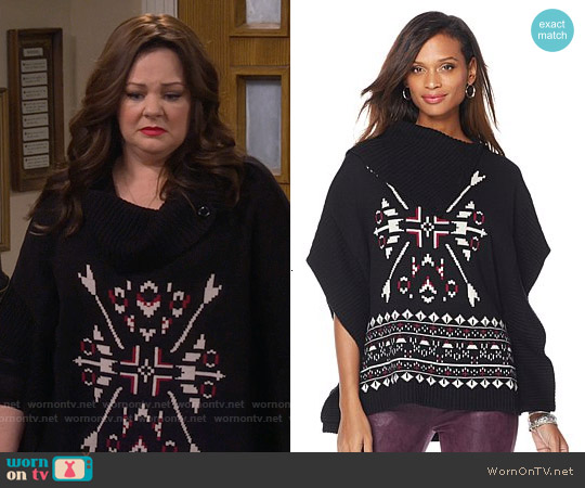 Melissa McCarthy Seven7 Snowflake Sweater Poncho worn by Melissa McCarthy on Mike & Molly