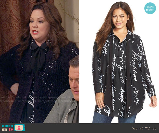 Melissa McCarthy Seven7 Bow Neck Tunic Blouse worn by Melissa McCarthy on Mike & Molly