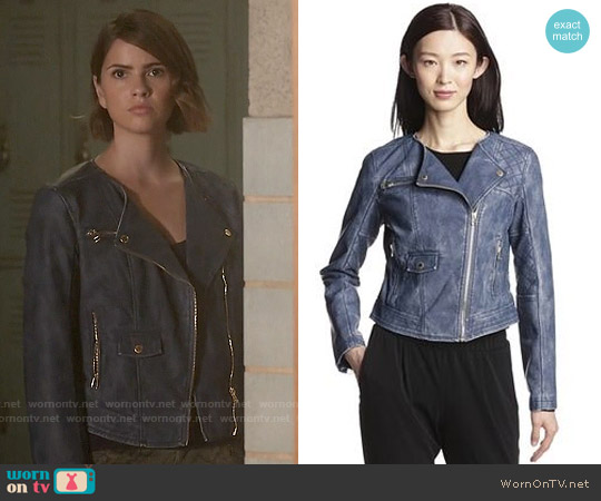 Members Only Washed Faux Leather Jacket worn by Shelley Hennig on Teen Wolf