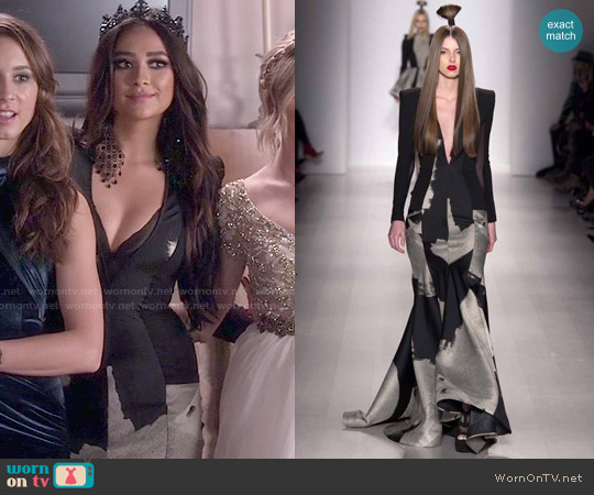 Michael Costello Fall 2015 Gown worn by Shay Mitchell on PLL