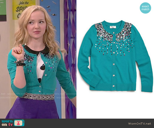 Milly Minis Sequin Cardigan in Emerald worn by Liv Rooney on Liv & Maddie
