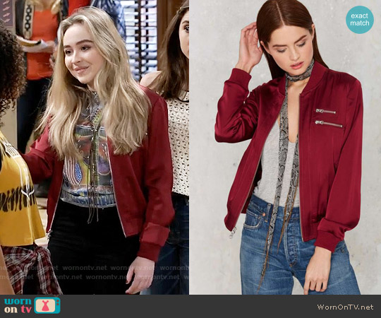 Nasty Gal Flower Trip Bomber Jacket worn by Maya Hart on Girl Meets World