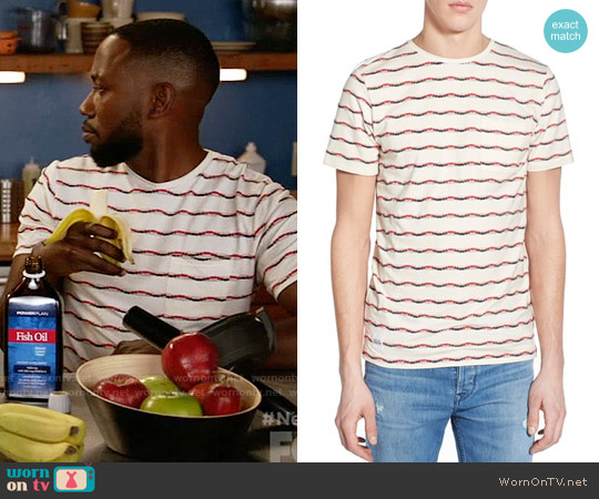 Native Youth Jacquard Stripe Pocket Crewneck T-Shirt worn by Lamorne Morris on New Girl