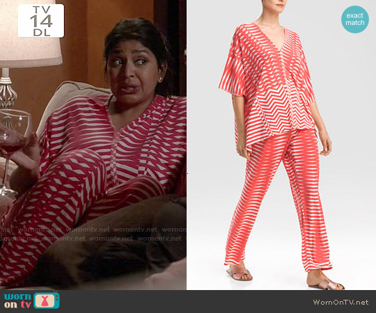 Natori Portofino Tunic PJ in Guava worn by Punam Patel on Kevin from Work