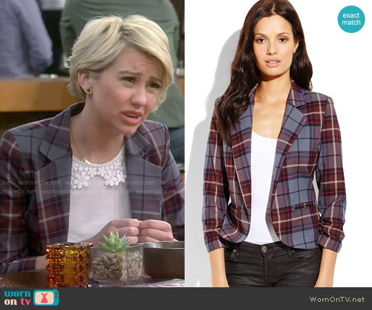 Necessary Objects Plaid Open Blazer worn by Riley Perrin on Baby Daddy