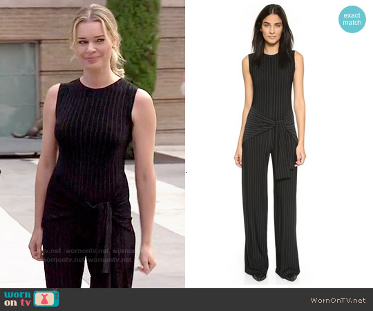 Norma Kamali Kamali Kulture Tie Front Jumpsuit worn by Rebecca Romijn on The Librarians