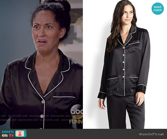 Olivia von Halle Silk Satin Pajamas worn by Tracee Ellis Ross on Blackish