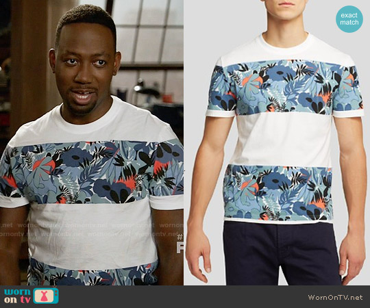 Original Penguin Floral Block Stripe Tee worn by Lamorne Morris on New Girl