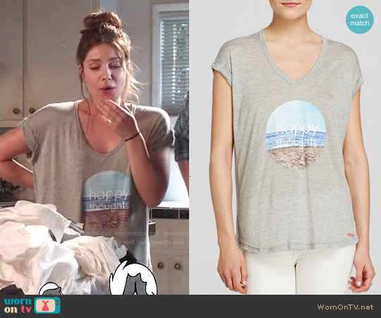 Peace Love World Happy Thoughts Tee worn by Paige Spara on Kevin from Work