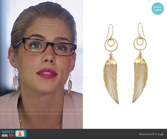 Peggy Li Mother Of Pearl Leaf Earrings worn by Felicity Smoak on Arrow
