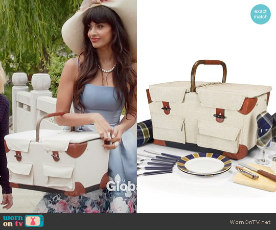 Picnic Time Pioneer Deluxe Picnic Basket worn by Tahani Al-Jamil on The Good Place