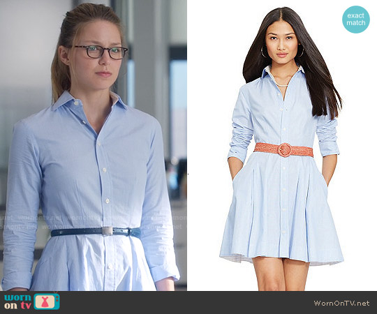 Polo Ralph Lauren Pleated Poplin Shirtdress worn by Melissa Benoist on Supergirl