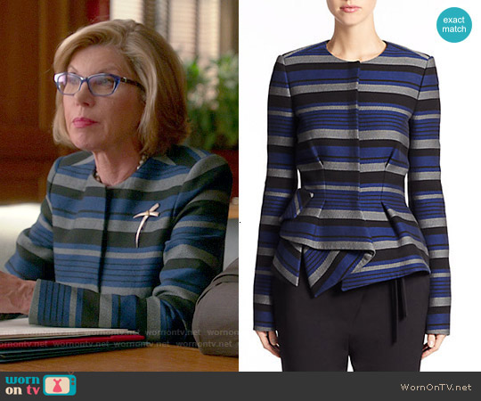 Proenza Schouler Striped Crepe Peplum Jacket worn by Christine Baranski on The Good Wife
