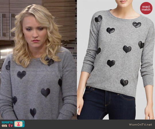 Quotation Leather Heart Cashmere Sweater worn by Emily Osment on Young & Hungry