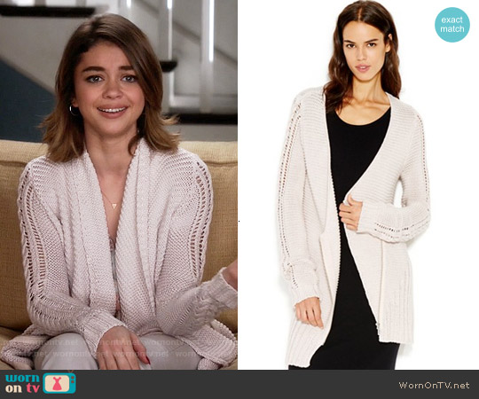 RACHEL Rachel Roy Waffle-Knit Shawl Collar Cardigan worn by Sarah Hyland on Modern Family