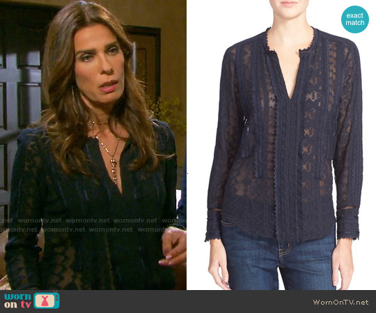 Rebecca Taylor Embellished Silk Chiffon Top by worn by Kristian Alfonso on Days of our Lives