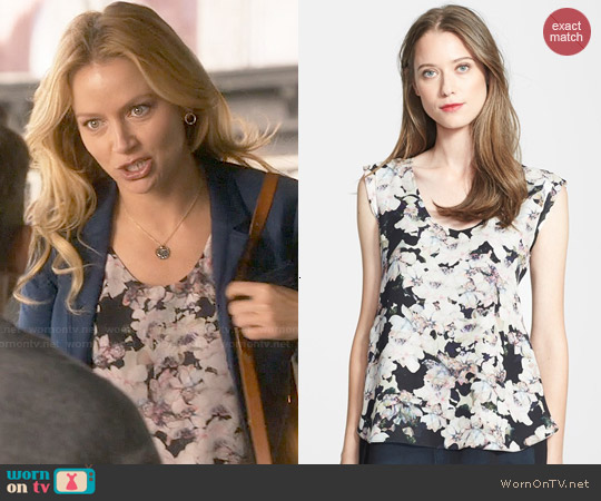 Rebecca Taylor 'Frosted Flower' Print Silk Top worn by Becki Newton on Weird Loners