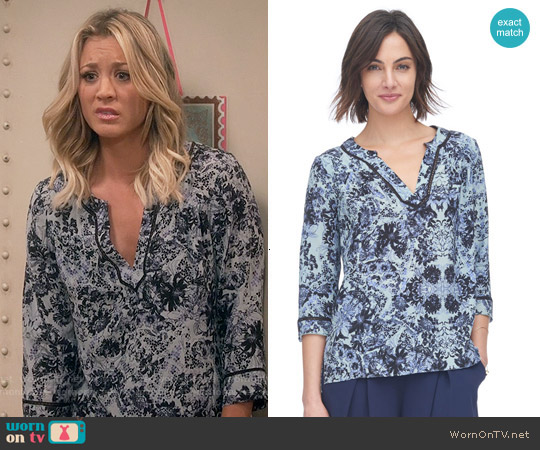 Rebecca Taylor Kiku Print Blouse worn by Kaley Cuoco on The Big Bang Theory