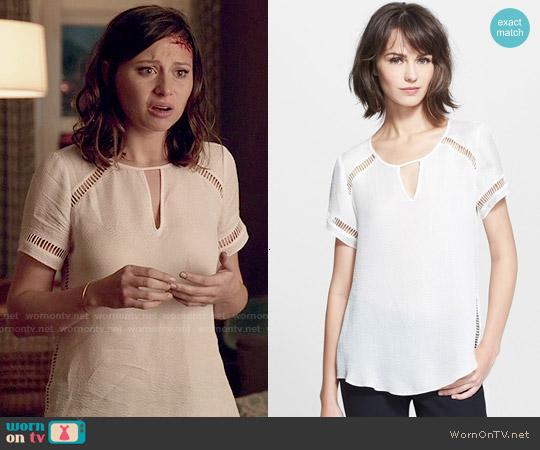 Rebecca Taylor Ladder Stitch Textured Silk Top worn by Aly Michalka on iZombie