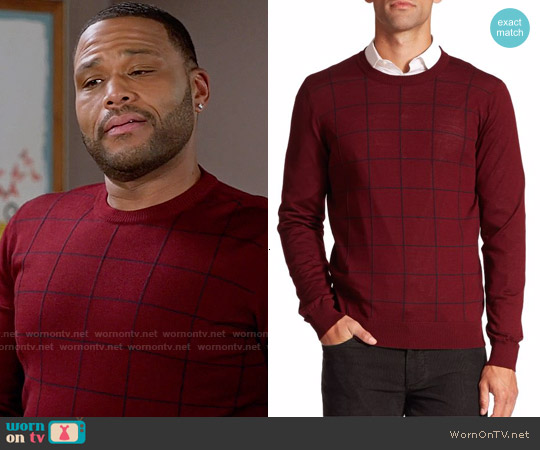 Saks Fifth Avenue Collection Graphic Check Merino Wool Sweater worn by Anthony Anderson on Blackish