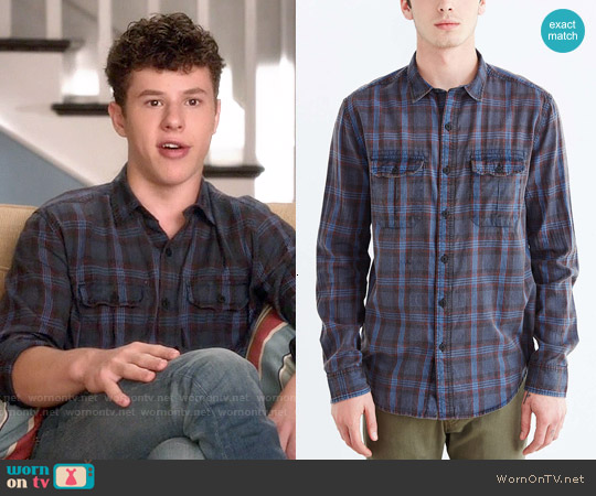 Salt Valley Acid Washed Plaid Button-Down Workshirt worn by Nolan Gould on Modern Family