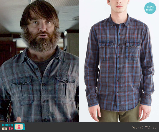 Salt Valley Acid Washed Plaid Button-Down Workshirt worn by Will Forte on Last Man On Earth