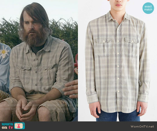 Salt Valley Acid Washed Plaid Button-Down Workshirt in Cream worn by Will Forte on Last Man On Earth