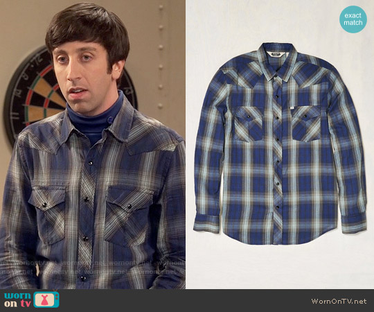 Salt Valley Shadow Plaid Western Button-Down Shirt worn by Simon Helberg on The Big Bang Theory