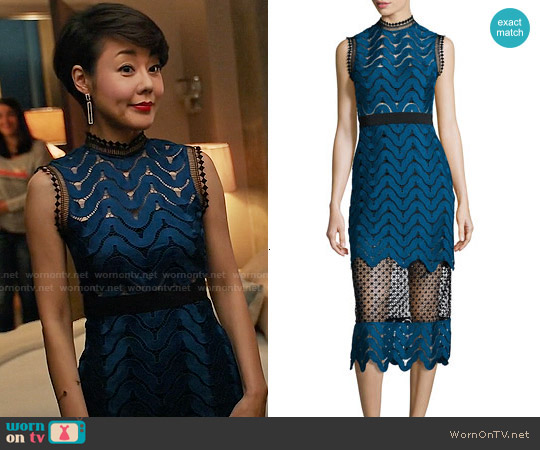 8c4fec930b1 WornOnTV: Karen's blue and black lace dress on Mistresses | Yunjin ...