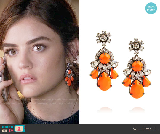 Shourouk Neon Gunmetal-tone Crystal Earrings worn by Aria Montgomery on PLL