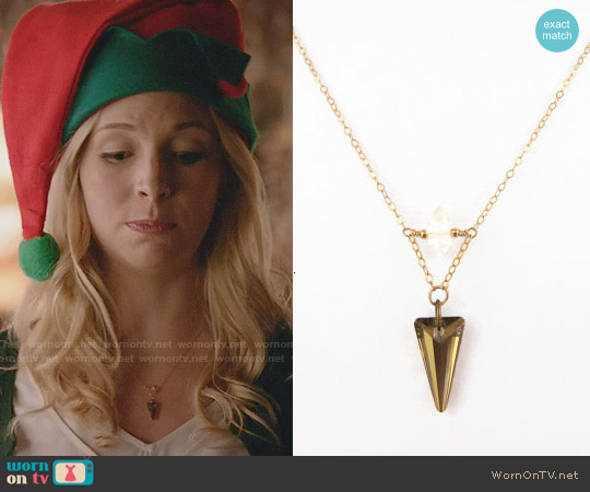 SiennaGraceJewelry Swarovski Crystal Spike Herkimer Diamond Necklace worn by Caroline Forbes on The Vampire Diaries