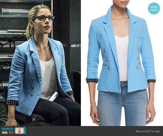 Smythe Rumpled Crepe Military Blazer in Periwinkle worn by Emily Bett Rickards on Arrow