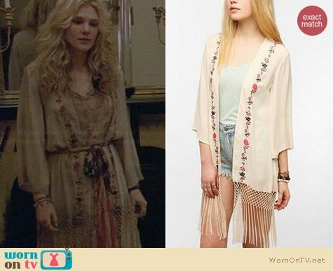Staring at Stars Embroidered Silky Fringe Jacket worn by Lily Rabe on AHS Coven