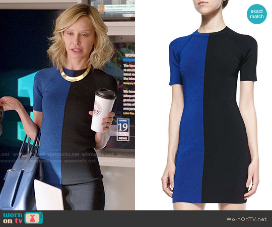 T by Alexander Wang Two-Tone Short-Sleeve Dress worn by Calista Flockhart on Supergirl