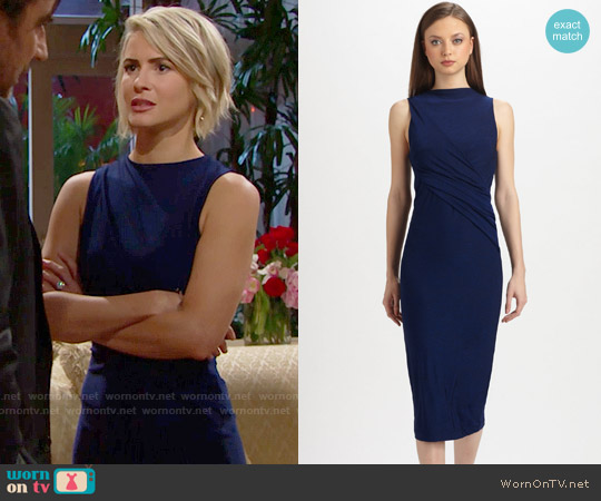 T by Alexander Wang Draped Stretch Jersey Dress worn by Linsey Godfrey on The Bold & the Beautiful
