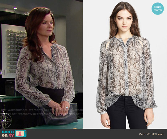 Tamara Mellon Cutout Detail Silk Georgette Peasant Blouse worn by Heather Tom on The Bold & the Beautiful