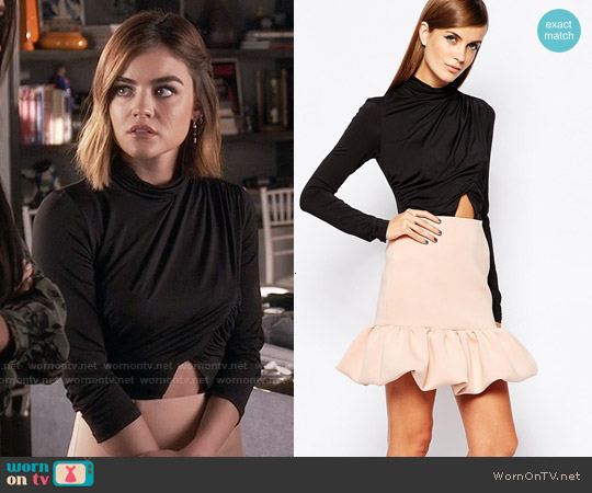 The 8th Sign 2 In 1 Dress With Wrap Front Top With Peplum Skirt worn by Lucy Hale on PLL