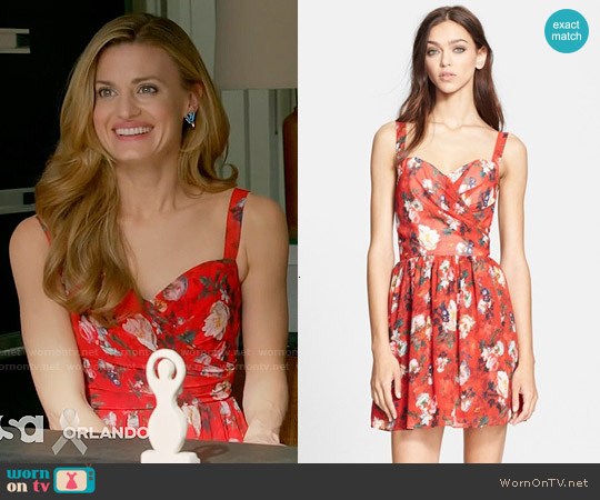 The Kooples Floral Print Chiffon Fit & Flare Dress worn by Brooke D'Orsay on Royal Pains