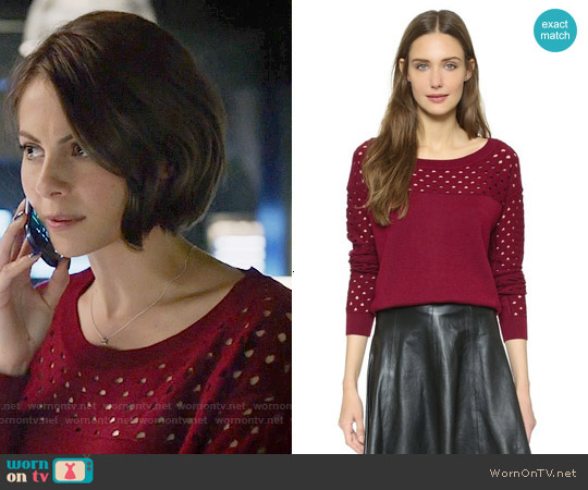 The Kooples Perforated Pullover worn by Willa Holland on Arrow