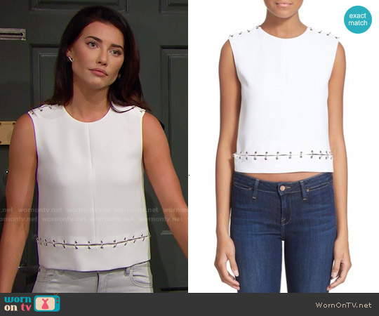 The Kooples Ring Embellished Top worn by Jacqueline MacInnes Wood on The Bold & the Beautiful