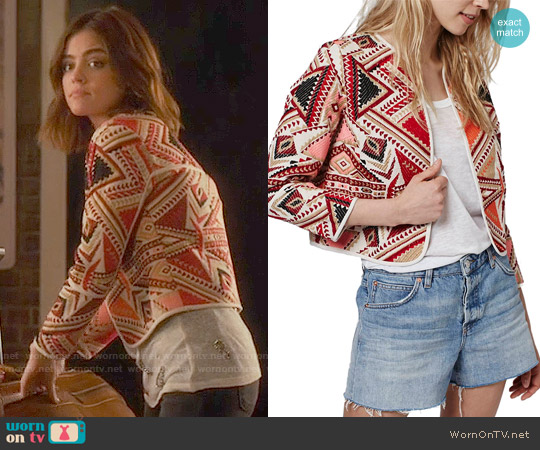 Topshop Geo Embroidered Jacquard Jacket worn by Lucy Hale on PLL