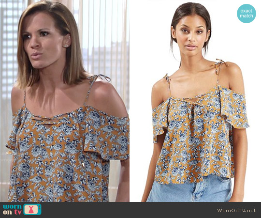 Topshop Lace-Up Front Bardot Top worn by Melissa Claire Egan on The Young & the Restless