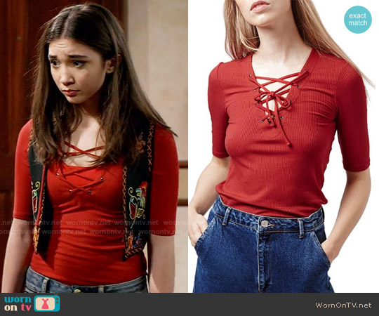Topshop Lace-Up Short Sleeve Crop Top worn by Rowan Blanchard on Girl Meets World