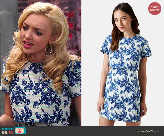 Topshop Leaf Print Crop Overlay Dress worn by Peyton List on Jessie