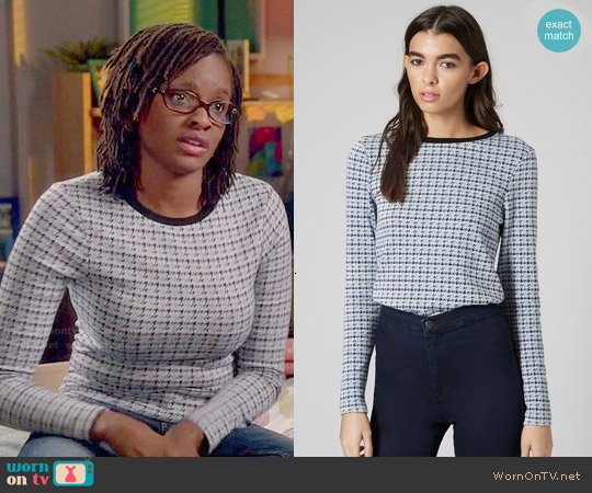 Topshop Mini Houndstooth Long Sleeve Top worn by Sharon Pierre-Louis on Switched at Birth