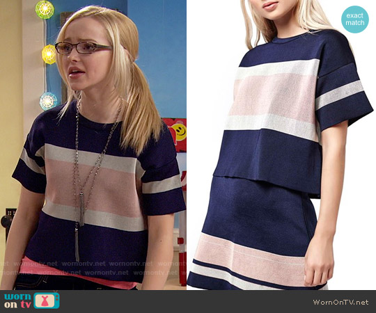 Topshop Modern Stripe Boxy Tee worn by Dove Cameron on Liv & Maddie