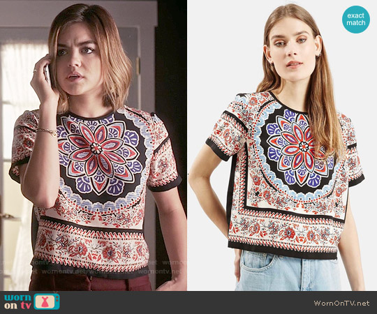 Topshop Scarf Print Short Sleeve Shirt worn by Lucy Hale on PLL