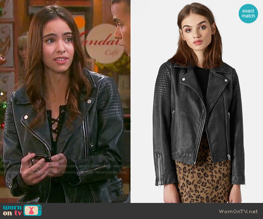 Topshop Sheepskin Leather Biker Jacket worn by Victoria Konefal on Days of our Lives